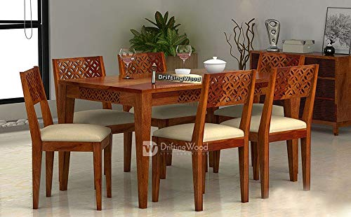 DriftingWood Dining Table 6 Seater | Six Seater Dinning Table with Chairs | Dining Room Sets | Sheesham Wood, Honey Finish