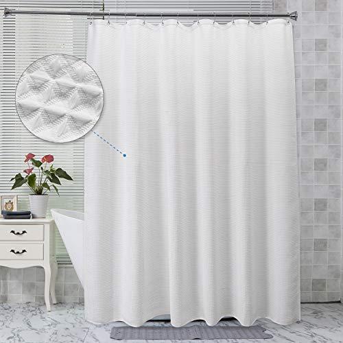 AmazerBath Waffle Weave Fabric Shower Curtain, Cotton Blend Shower Curtain Hotel Luxury Shower Curtains for Bathroom, Soft Cloth White Shower Curtain Machine Washable 230GSM Heavy Duty, 72 x 72 Inches