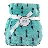 Lollypop Angel Plush Ultra Soft Baby Blanket, 30 in x 40 in, Boys Girls Unisex (Mint Green/Blue Arrows)