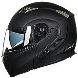 ILM Bluetooth Integrated Modular Flip up Full Face Motorcycle Helmet Sun Shield Mp3 Intercom (XL, Matte Black)