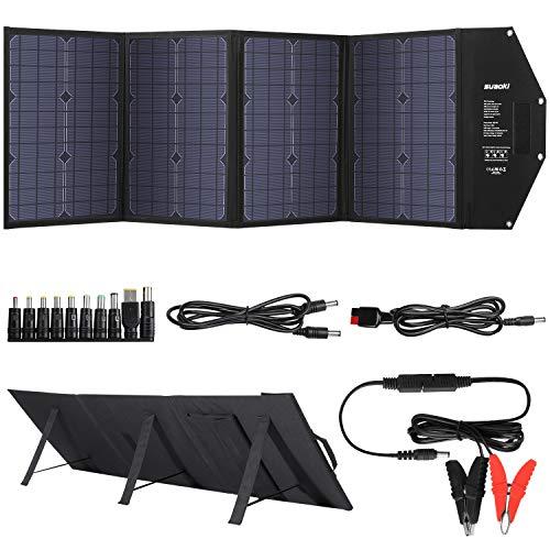 suaoki ソーラーチャージャー 100W 折りたたみ ソーラーパネル type-C 60W 急速充電QC3.0搭載 太陽光発電 ...