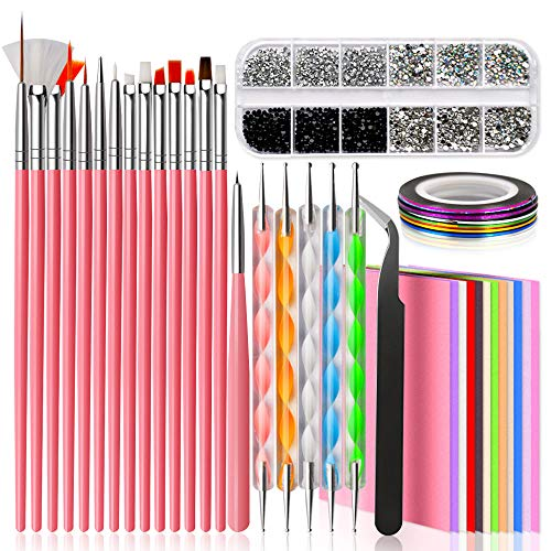 Nail Design Kit for Acrylic Nails with Nail Art Brushes, Dotting Tool, Nail Tape Strips, Nail Foil Flake Sticker, Crystal Nail Rhinestones and Precision Tweezers Nail Accessories for Nail Technician