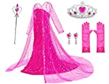 Luxury Princess Dress Costumes with Shining Long Cap Girls Birthday Party 7-8 Years