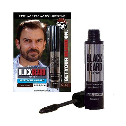 Blackbeard for Men, gel colorante per barba e baffi nero,con applicatore a pennello usa e getta, 12ml