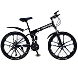 LODDD High Carbon Steel 26 Inch Folding Mountain Bike Mechanical Disc Brakes Shimanos 21 Speed Gears Bicycle Full Suspension MTB Bikes - US Stock (S-Black, 21 Speed)