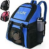 LUX - Mochila de fútbol con compartimento para pelotas de fútbol para jóvenes y niños, bolsa de equipo para fútbol y baloncesto, voleibol, gimnasio, azul