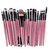 KOLIGHT 20 Pcs Pro Makeup Set Powder Foundation Eyeshadow Eyeliner Lip Cosmetic Brushes (Black+Pink)
