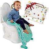 "Potty Training Seat Unisex Kids &Toddler Toilet - Foldable Adjustable Ladder Anti-Slip Step w/Safety Handles - Fits Toilets 14-16.1"" High. Bonuses: Soft Cushion Seat - Potty Training Chart"