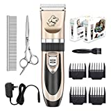 Image of Everesta Dog clippers, Low Noise Rechargeable Cordless Pet Dogs and Cats Electric Grooming Clippers Kit with Shears and Comb (Gold+Black)