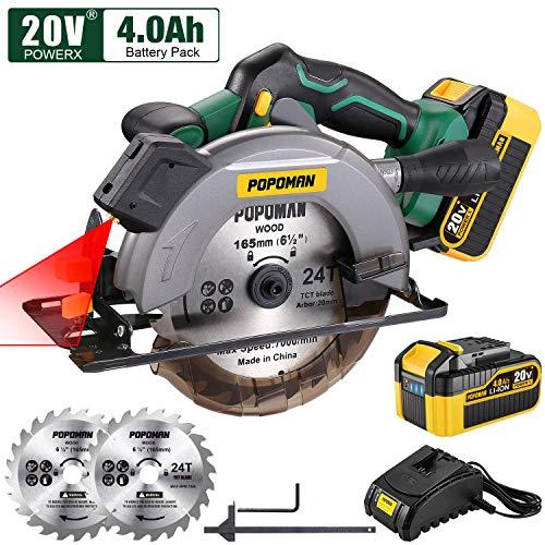 POPOMAN Cordless Circular Saw, 4300 RPM, 20V 4.0Ah Battery, Fast Charger, 2 x Blade(6-1/2'), Adjustable Cutting Depth 2-1/16'(90), 1-3/8'(45), Laser & Base Plate Adjustable - MTW300B