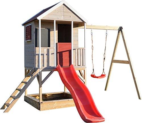 Wendi Toys M9 Summer Adventure House & Plattform & Rutsche | Kinderspielhaus aus Holz auf 90 cm Plattform mit Schaukeln Holzhaus Garten Spielhaus mit Veranda Rutsche, Schaukel, Tafel, Sandkasten