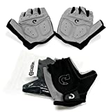 GEARONIC Cycling Bike Bicycle Motorcycle Glove Shockproof Foam Padded Outdoor Workout Sports Half Finger Short Gloves - Gray'L'