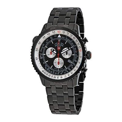 CX Swiss Military Thunderbolt Nero Chrono Watch 44mm PVD Case/Bracelet Blk Dial