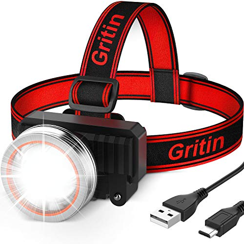 Lampe Frontale, Gritin Torche Frontale LED Rechargeable USB Puissante,...