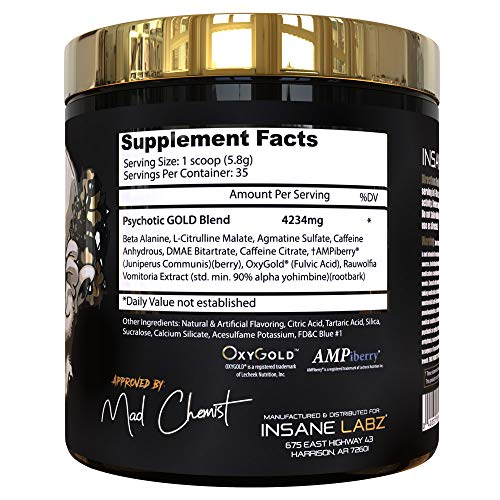 Insane Labz Psychotic Gold, High Stimulant Pre Workout Powder, Extreme Lasting Energy, Focus, Pumps and Endurance with Beta Alanine, DMAE Bitartrate, Citrulline, NO Booster, 35 Srvgs, Gummy Candy 5