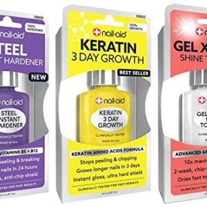 NAIL-AID Hardener + Keratin Growth + Gel Top Coat, Clear Set 52