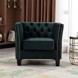 Artechworks Comfy Velvet Single Sofa Accent Living Room Chair, Button Tufted Upholstery with Silver Nail-Head Trim Club Chair, Modern Armchair for Bedroom, Home Office, Apartment, Deep Green