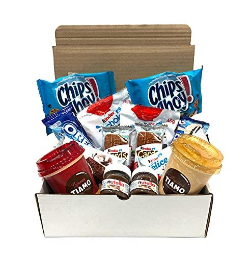 Pack Desayuno Sorpresa Regalo Original | Cafés, Chips Ahoy, Kinde Schoko Bons, Kinder Delice, Kinder Cards, Oreo y Mini Nutella