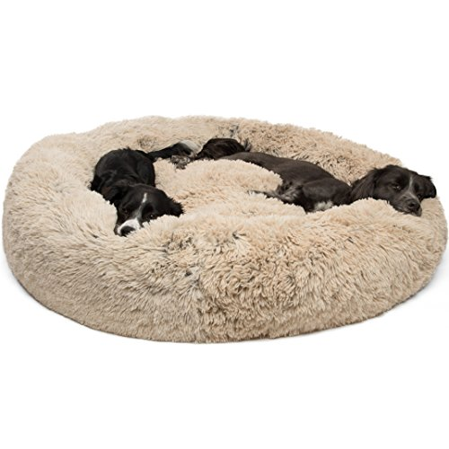 Best Friends by Sheri Calming Shag Vegan Fur Donut Cuddler (45x45 XL - Taupe) Removable Zippered Shell, Cat and Dog Bed, Self Warming and Cozy for Improved Sleep for Pets Up to 150 lbs.