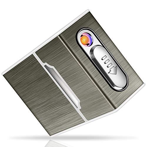 Yosemy Caja de Cigarrillo con Mechero Cigarette Case de Aluminio USB Recargable Caja Cigarrillo con Encendedor Pitilleras para Mujer y Hombre