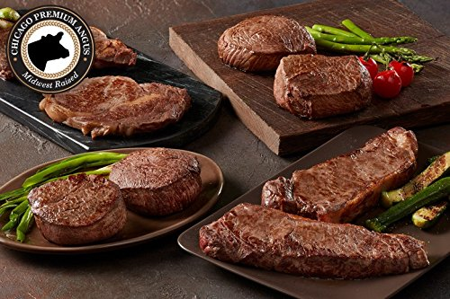 Chicago Steak Angus 8 piece Steak Set- Have a Taste of Prime Beef! – Gourmet Steak Sampler –Includes 2 Black Angus Complete Trim Filet Mignon Steaks: 2 Boneless Strips: 2 Sirloin Steaks & 2 Ribeye