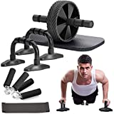 Outroad Ab Roller Wheel, 5 in 1 Ab Roller Kit with Push-UP Bar Knee Pad, Resistance Band,Handles Grips,Perfect Home Gym Workout Equipment for Men Women Abdominal Exercise