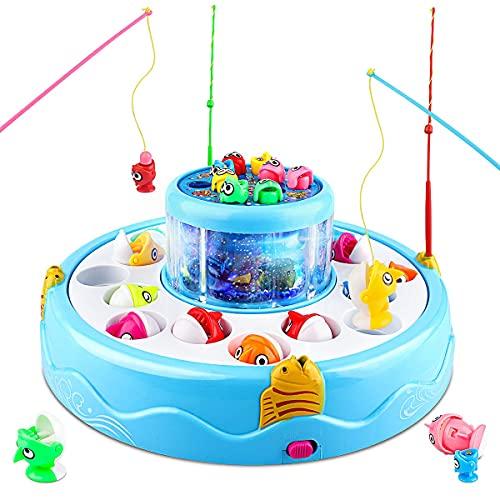 Baztoy Pesca Pesciolini Gioco Magnetico, Pesci Giocattoli per Bambini con Canne da Pesca & Luci & Musica Gadget Compleanno Regali Ragazzi Ragazze 3 4 5 6 7 Anni Bimbi Giochi Educativi Interattivi