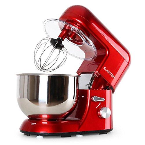 KLARSTEIN Bella Rossa - Robot da Cucina, Mixer, Impastatrice, 1200 W, 5,2 L, Sistema Planetario, 6...