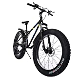 TOUNTLETS Fat Tire Mountain Bike 26 Inch Bicycle for Mens 21-Speed Anti-Slip Framed Fat Tire Cruiser Bike, Medium High-Tensile Steel Frame Suspension MTB Bikes for Heavy People (Black)
