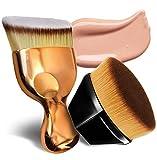 Foundation Pinsel Make-up Pinsel Kabuki Flat Top Gesicht Pinsel Groove Design Blush Pinsel zum Mischen von Flüssigkeit, Creme, Concealer Premium - 2stück