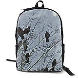 Mochila multiusos para niños y niñas, color negro, labrador, para portátil, con correas ajustables para el hombro, mochila elegante para la escuela universitaria Black Crow Raven Birds