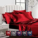 Ahmedani Linen Sexy Satin Sheet 6 Pcs King Bedding Set 1 Duvet Cover + 1 Fitted Sheet + 4 Pillow Cases Red King