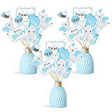 Faisichocalato Blue Elephant Centerpiece Sticks DIY Baby Boy It's A Boy Table Decorations Blue Little Peanut Cutouts for Blue Elephant Theme Baby Shower Birthday Party Supplies Set of 24