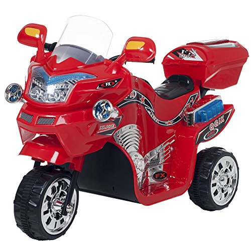 Ride on Toy, 3 Wheel Motorcycle Trike for Kids by Rockin' Rollers  Battery Powered Ride on Toys for Boys and Girls, 2 - 5 Year Old - Red FX