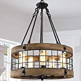 Farmhouse Chandeliers for Dining Rooms,5-Lights 19'' Wood Chandelier for Kitchen Island , Bedrooms