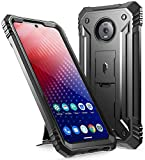 Poetic Moto Z4 Rugged Case with Kickstand, Full-Body Dual-Layer Shockproof Protective Cover, Built-in-Screen Protector, Revolution Series, Defender Case for Motorola Moto Z4 (2019 Release), Black