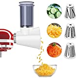 Slicer/Shredder Attachment for KitchenAid Stand Mixers,Cheese Grater Attachment Vegetable Slicer Attachment for KitchenAid,Salad Maker(White)