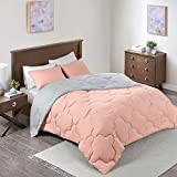 Comfort Spaces Vixie Reversible Comforter Set - Modern Geometric Quaterfoil Cloud Quilted Design, All Season Down Alternative Bedding, Matching Shams, Coral/Light Gray Full/Queen(90'x90') 3 Piece