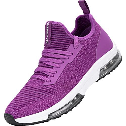 LARNMERN PLUS Zapatillas de Deporte Mujer Ligero Transpirable Air Zapatos para Correr Antideslizantes Amortiguación Comodos Caminar Zapatos Gimnasio Running Trabajar(Morado,38)