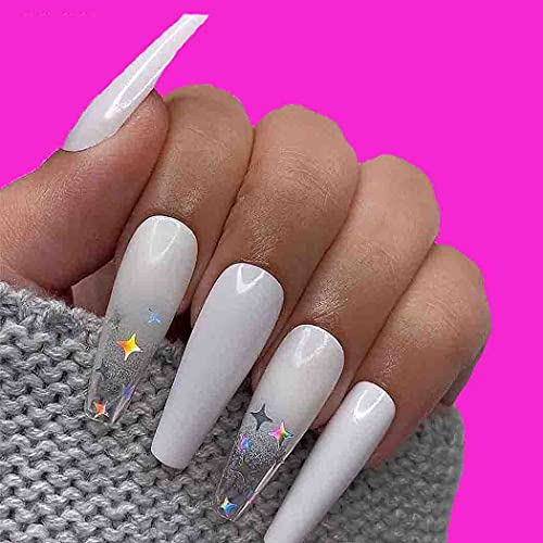 Outyua Ombre Extra Long Press on Nails Coffin Ballerina Gradeint Fake Nails Super Long False nails Acrylic Halloween Christmas Nails for Women and Girls 24Pcs (White & Star)