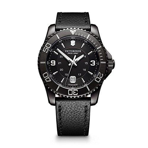 Victorinox Men's Maverick Stainless Steel Swiss-Quartz Watch with Leather Strap, Black, 22 (Model: 241787)