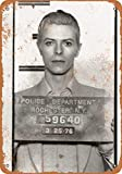 McC538arthy Tin Signs Metal Sign 1976 David Bowie Mug Shot Holiday Vintage Poster Metal Plaques for Funny Wall Decoration Art Sign Gifts for Christmas - 8x12