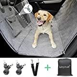 LIFEFAIR Back Seat Covers for Dogs, 100% Waterproof Dog Car Seat Cover with Mesh Window, Scratch Proof Nonslip Car Dog Hammock, Car Seat Covers for Dogs, Backseat Dog Cover for Cars SUV