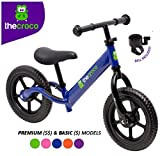 TheCroco Lightweight Balance Bike for Toddlers and Kids… (Blue, Premium Model (Aluminum))
