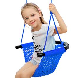 Arkmiido Kids Swing, Swing Seat for Kids with Adjustable Ropes, Hand-kitting Rope Swing Seat Great for Tree, Indoor, Playground, Background