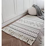 Cotton Printed Rug, Seavish Decorative Grey and Cream Bohemia Kilim Rug Hand Woven Rag Rug Entryway Thin Throw Rug 2x3 for Laundry Room Living Room Dorm