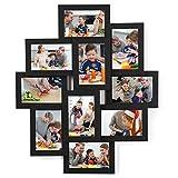 SONGMICS Cadre Photo, Pêle-mêle Mural, Capacité 10 Photos de 10 x 15 cm, en Panneaux MDF, Nécessite Assemblage, Noir RPF20BK