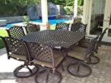 Heritage Outdoor Living Nassau Cast Aluminum 9pc Outdoor Patio Dining Set with 64'x64' Square Table - Antique Bronze