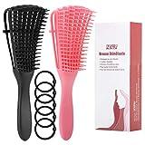 ZITFRI 2 Pcs Brosse Demelante pour Cheveux Crépus - Brosses Cheveux Crepus Démêlante AfroTexturé 3A à 4C Ondulés Longs Epais Bouclés Noir Rose