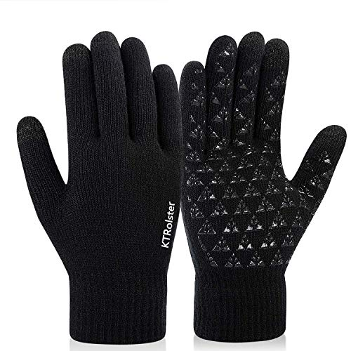 Winter Knit Gloves for,Touchscreen Gloves,Knit Wool,Anti-Slip Silicone Gel